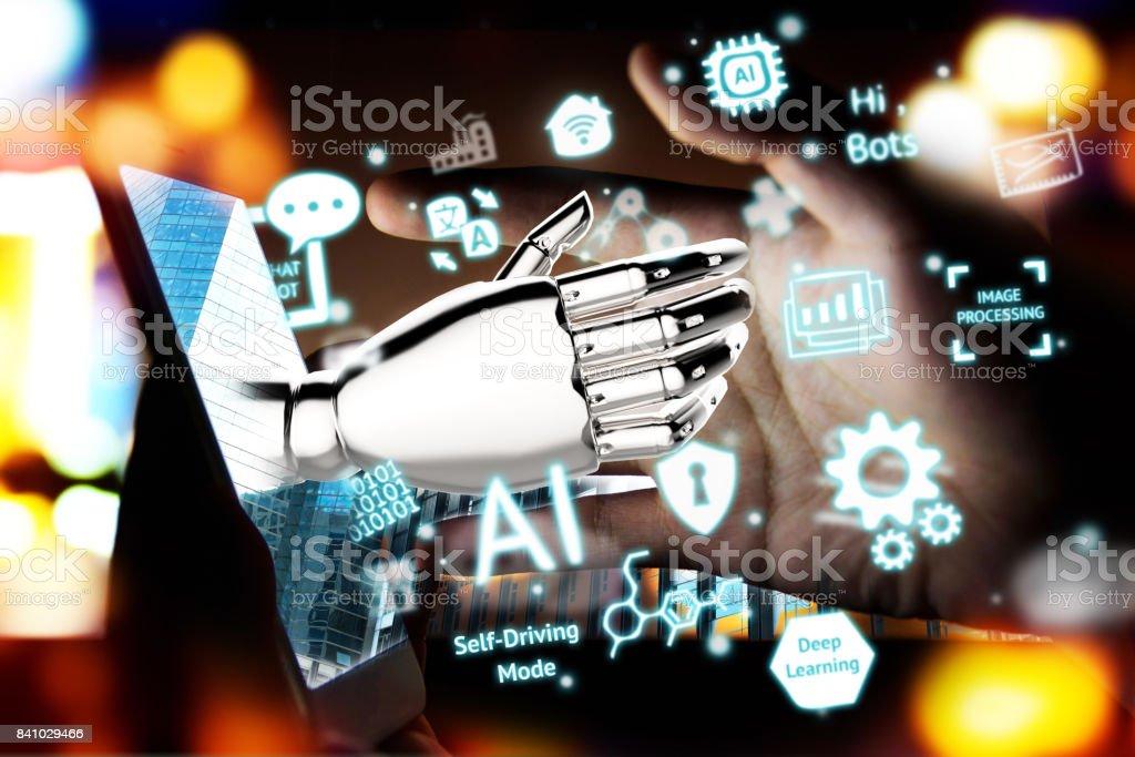 Robotik, künstliche Intelligenz, Robo-Berater, Chatbot Konzept. 3D Rendering der Roboterhand pop-up aus Handy und neuronale Ki Industrie, Technologie-Icons mit Fackel Lichteffekt. – Foto