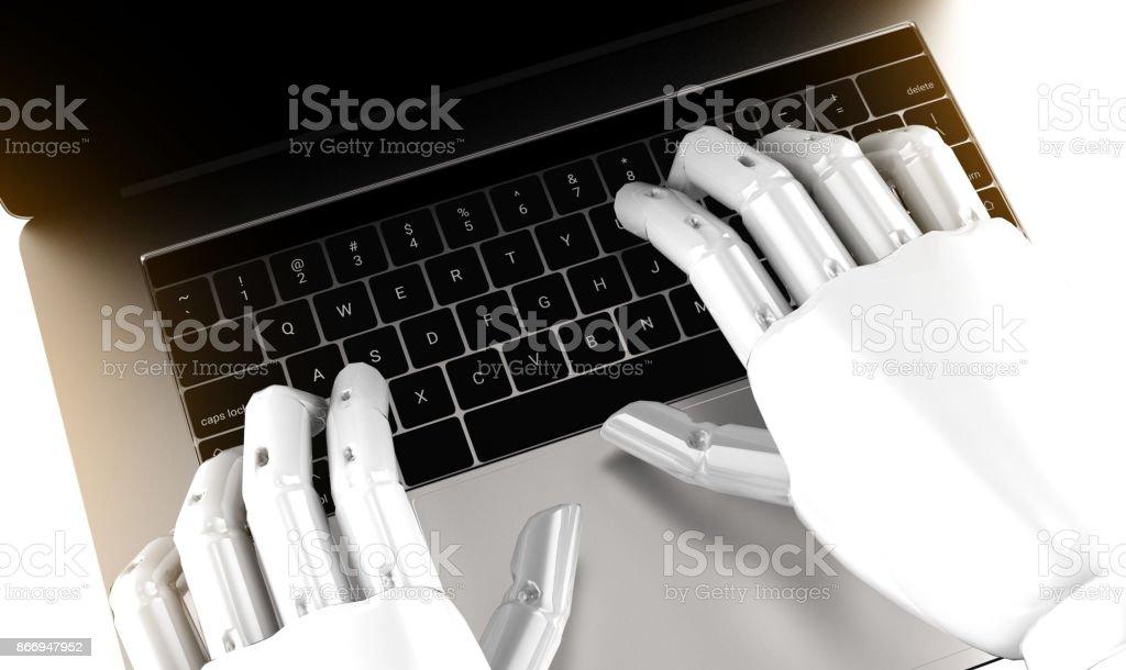 Robotik, künstliche Intelligenz, Robo-Berater, Chatbot, Machine learning-Konzept. Roboter Finger Point Laptop-Tastatur-Taste mit Fackel Lichteffekt. 3D-Rendering. – Foto