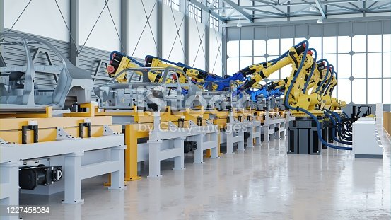 Robotic automotive assembly in factory.3D Rendering