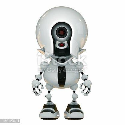 Futuristic ufo cameraman isolated on white