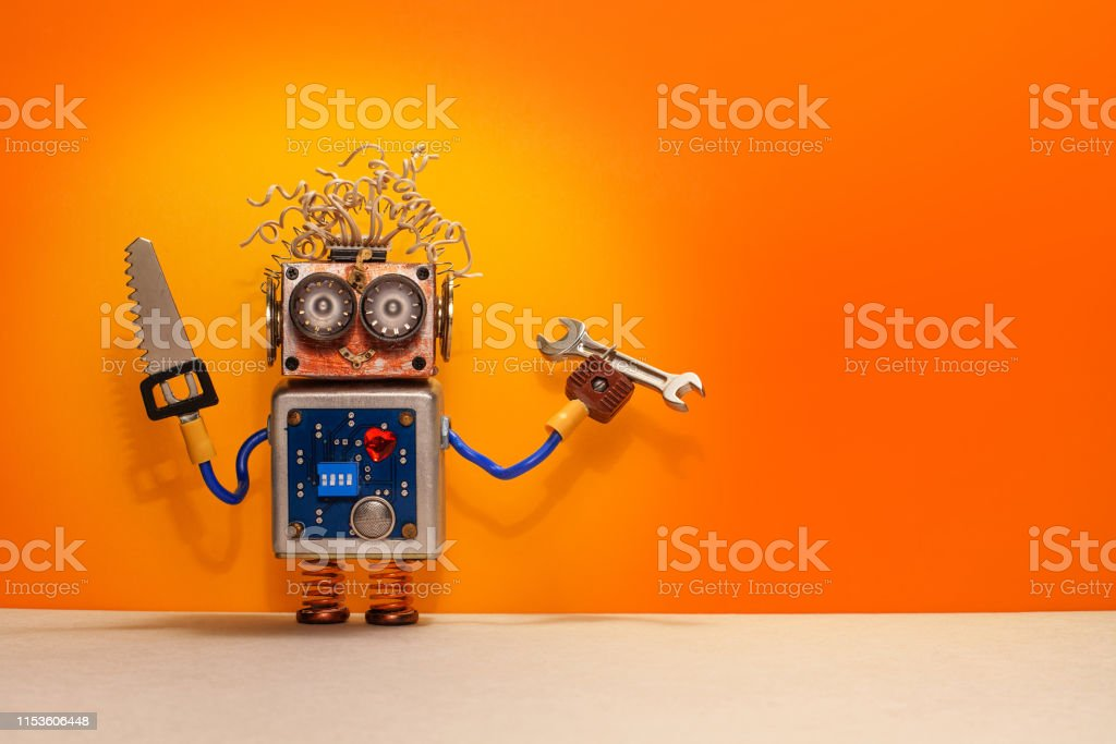 Robotic engineer repair service poster. Funny robot handyman with...