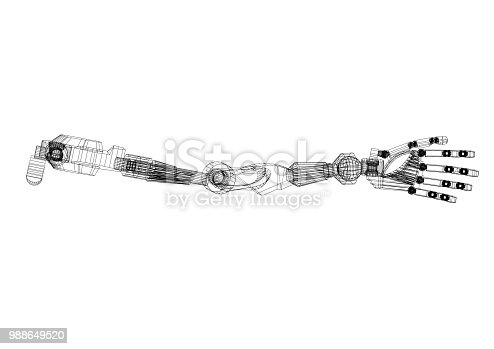 istock Robotic hand Architect Blueprint - isolated 988649520