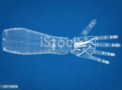 istock Robotic hand Architect Blueprint 1007706046