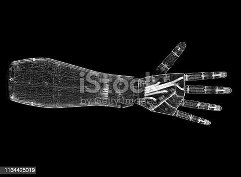 istock Robotic hand Architect Blueprint 1134425019
