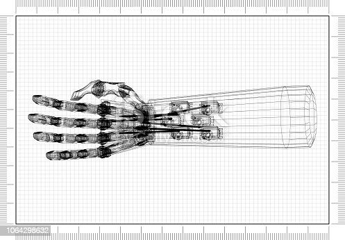 istock Robotic Hand Concept Architect Blueprint 1064298632