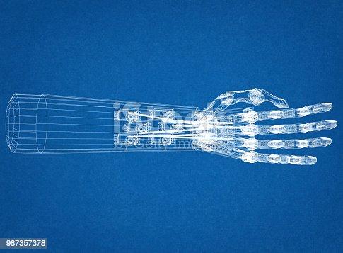 istock Robotic Hand Concept Architect Blueprint 987357378