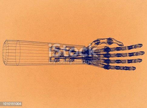 istock Robotic Hand Concept - Retro Architect Blueprint 1010151004