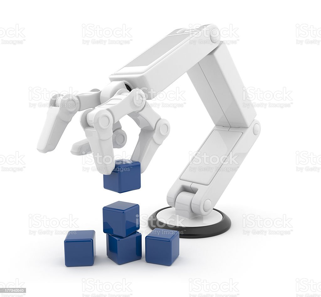 Robotic hand gather cube 3d. Isolated stock photo