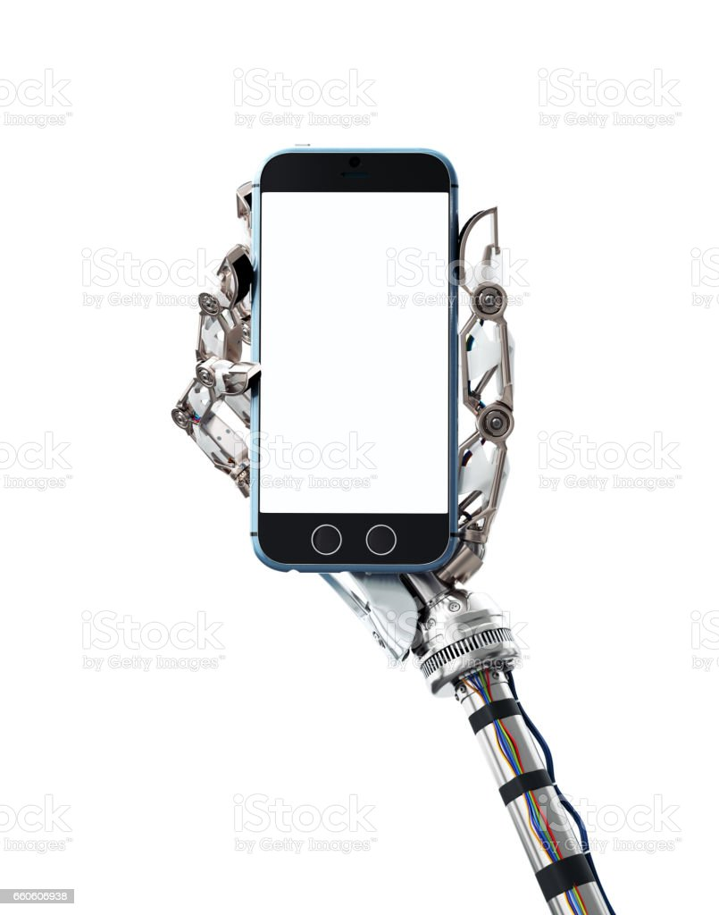 Robotic hand holding a cell phone royalty-free stock photo
