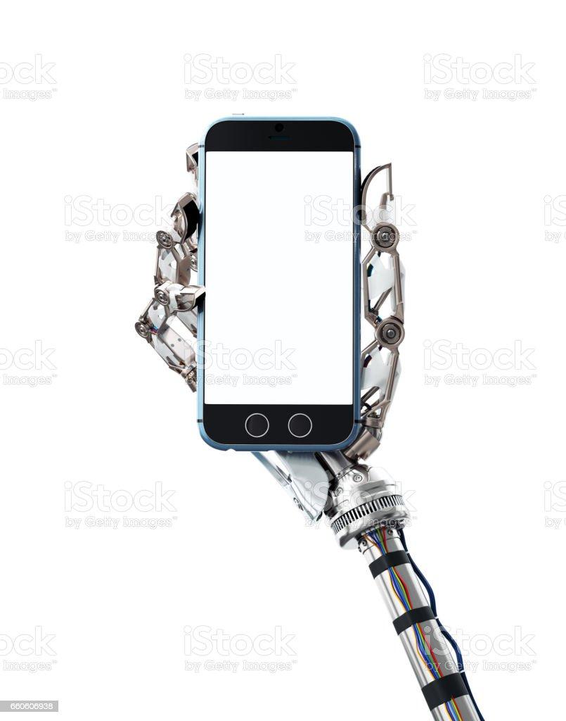 Robotic hand met een mobiele telefoon foto