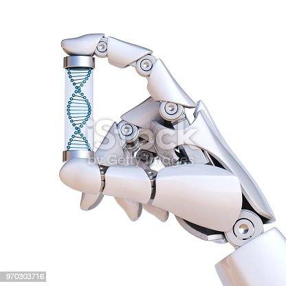 istock Robotic hand holding DNA sample, artificial intelligence concept 970303716