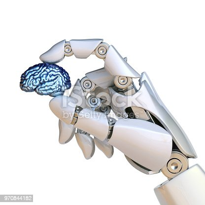 875483824 istock photo Robotic hand holding human brain, artificial intelligence concept, bionic brain 970844182