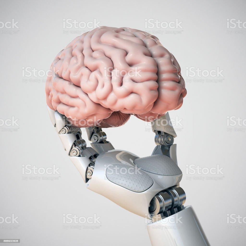 Robotic hand holding human brain - foto stock