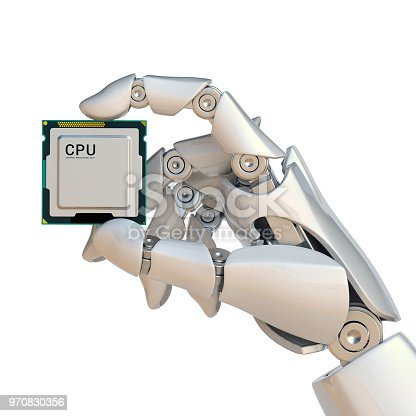 875483824 istock photo Robotic hand holding processor chip, artificial intelligence concept, bionic brain 970830356