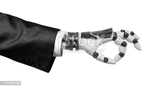 istock Robotic hand in business suit showing Ok symbol isolated on white background 1177434132