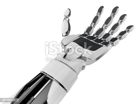 istock Robotic hand keeping empty palm, isolated on white background. 874951572