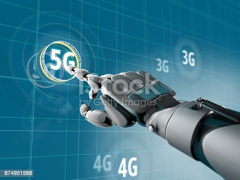 istock A robotic hand pick on a symbol of 5G on Sci-fi interface with HUD elements. Futuristic concept of wireless communication 874951588