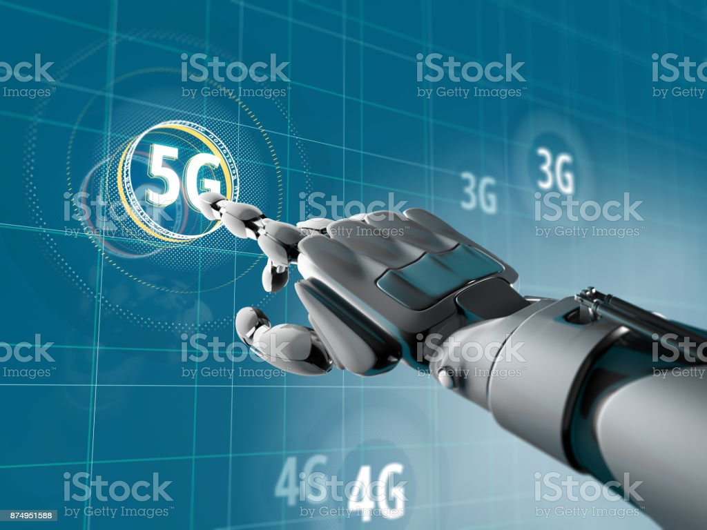 A robotic hand pick on a symbol of 5G on Sci-fi interface with HUD elements. Futuristic concept of wireless communication stock photo