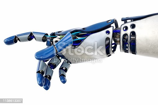 istock Robotic hand pointing isolated on white background 1138613357
