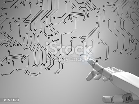 istock Robotic hand pointing pcb board 981506670
