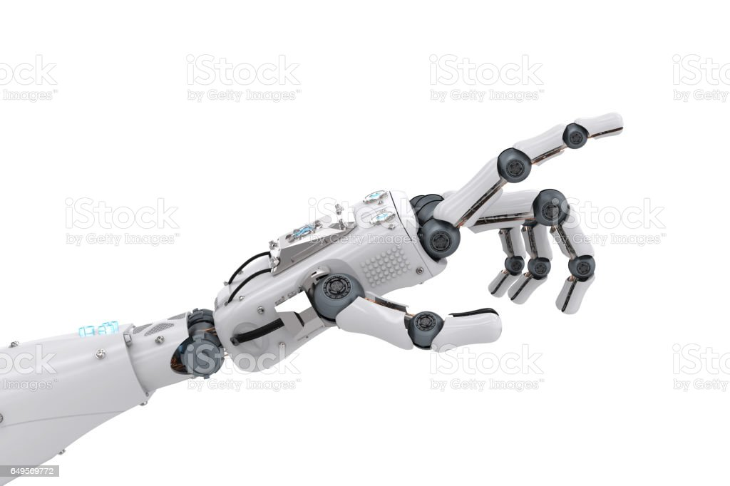 robotic hand pointing stock photo