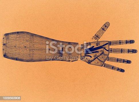istock Robotic hand - Retro Architect Blueprint 1009560908