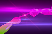 istock Robotic Hand touching to light, Artificial Intelligence Concept with neon colors and lens flare 1131123319