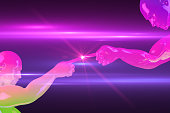 istock Robotic Hand touching to light, Artificial Intelligence Concept with neon colors and lens flare 1131125296