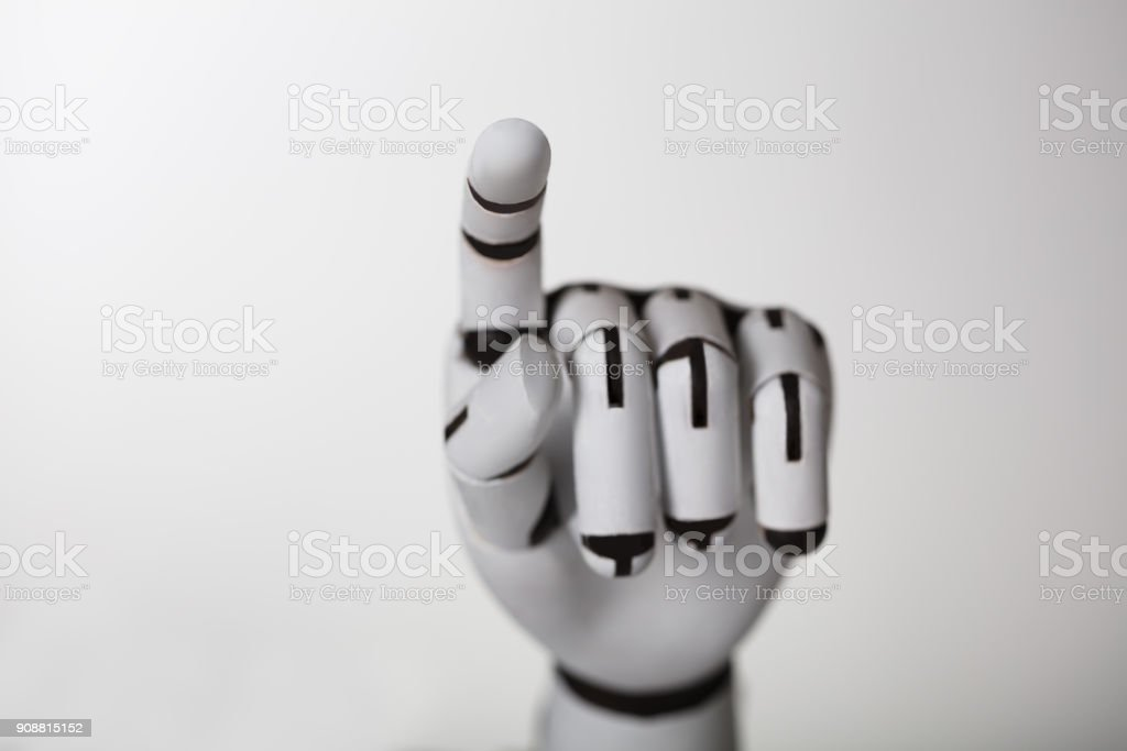Robotic Hand Touching Transparent Screen stock photo