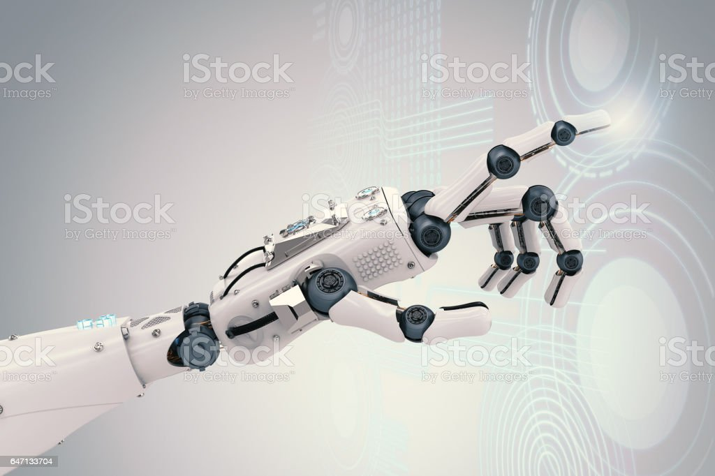 robotic hand with virtual graphic stock photo