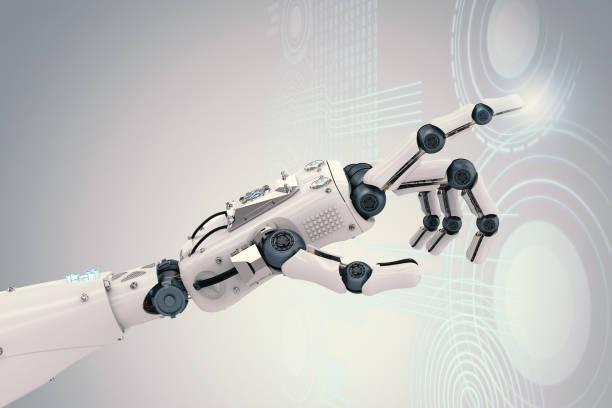 仮想グラフィックによるロボットハンド ストックフォト