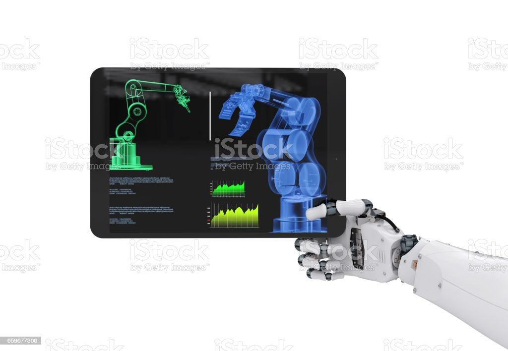robotic hand working with digital tablet stock photo