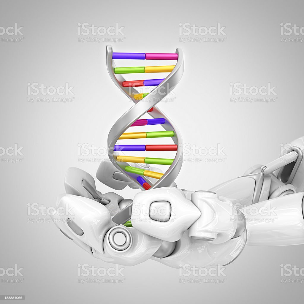 robotic hands holding DNA royalty-free stock photo