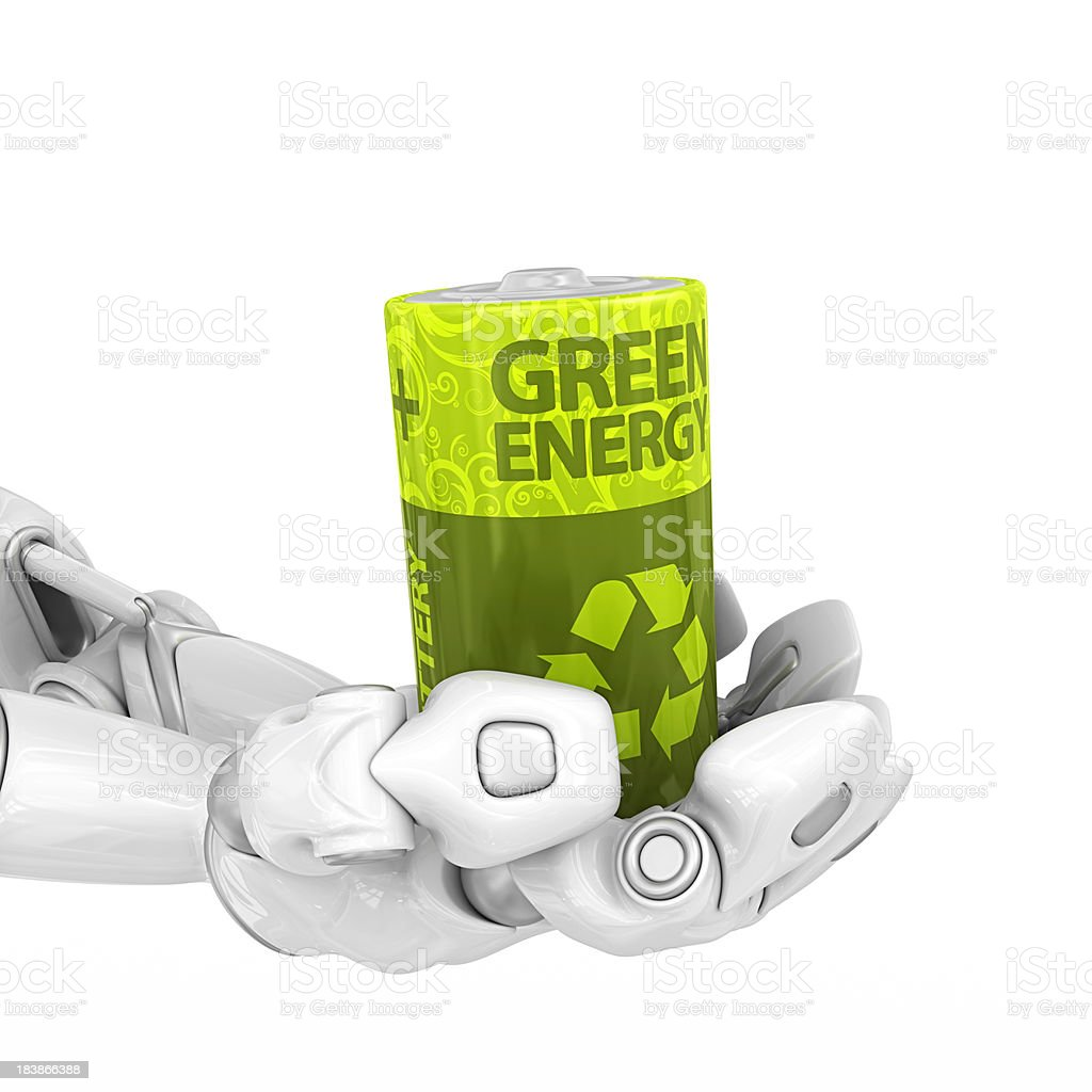 robotic hands holding eco battery royalty-free stock photo