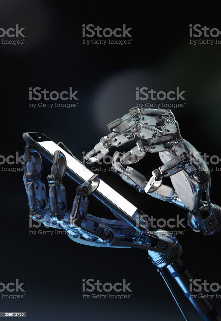 Robot handen met mobiele telefoon foto