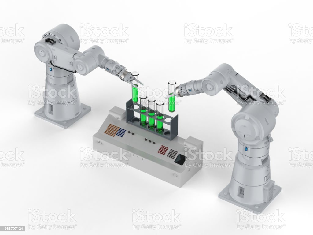 테스트 튜브에 로봇 손 스톡 사진