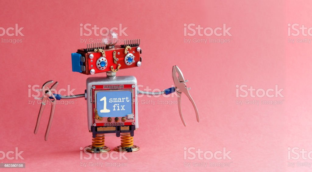 Robotic handyman electrician red head, blue monitor body, light bulb, pliers. Smart fix message on display. Cute toy character cyberpunk machinery style. Pink background, copy space for your text royalty-free stock photo