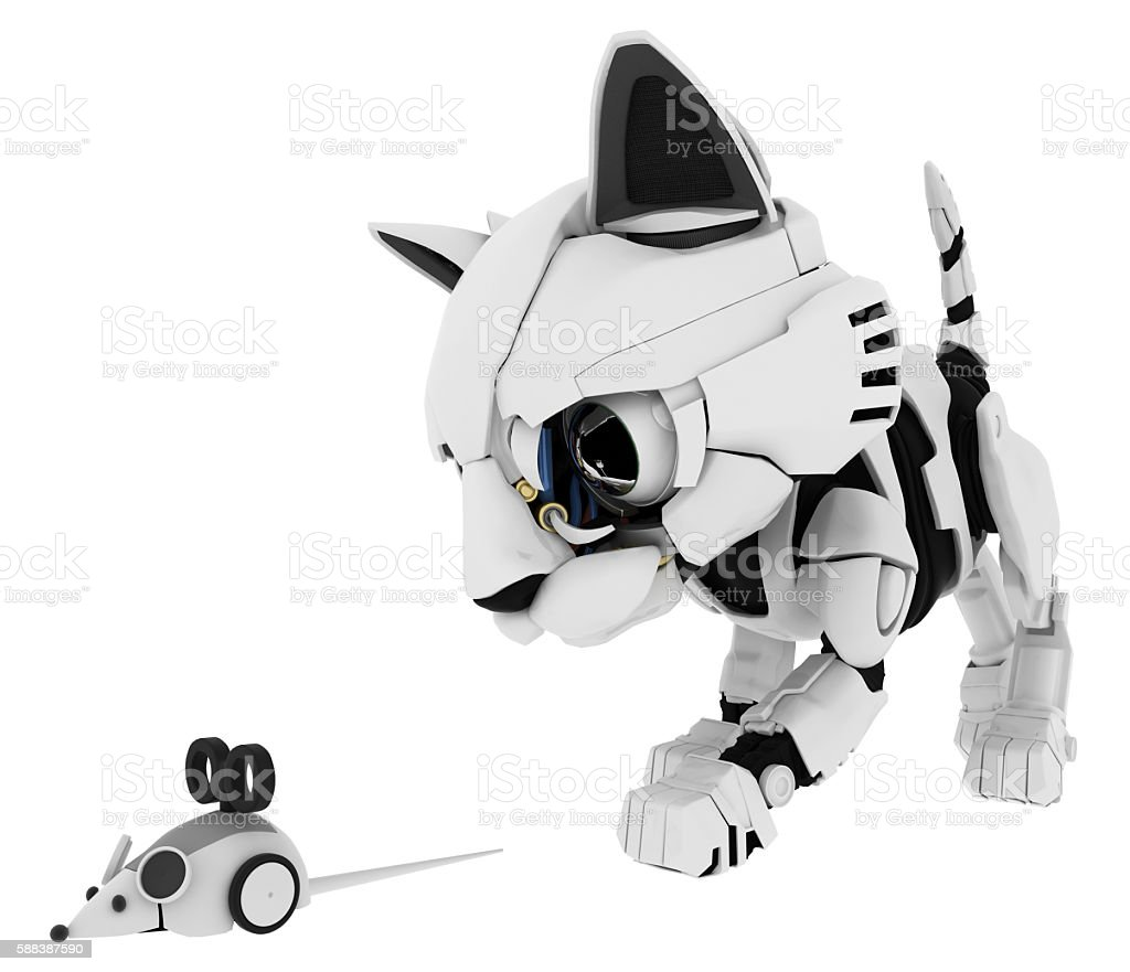 Robotic Kitten, Mouse stock photo
