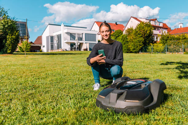 Robotic lawn mower programmed with mobile phone app by a smiling woman stock photo
