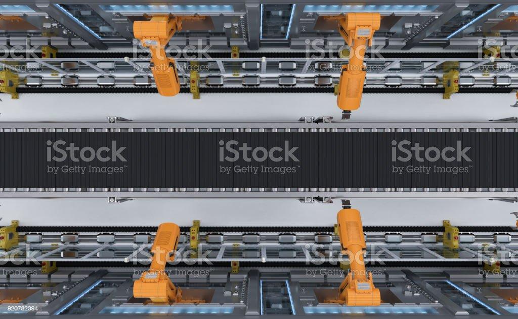robotic machines with conveyor stock photo