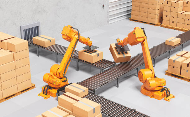 Robotic Palletising and Packaging Concept. Industrial Background stock photo