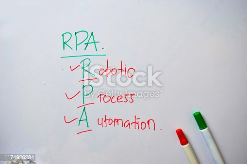 Robotic Process Automation text with isolated on white board background.