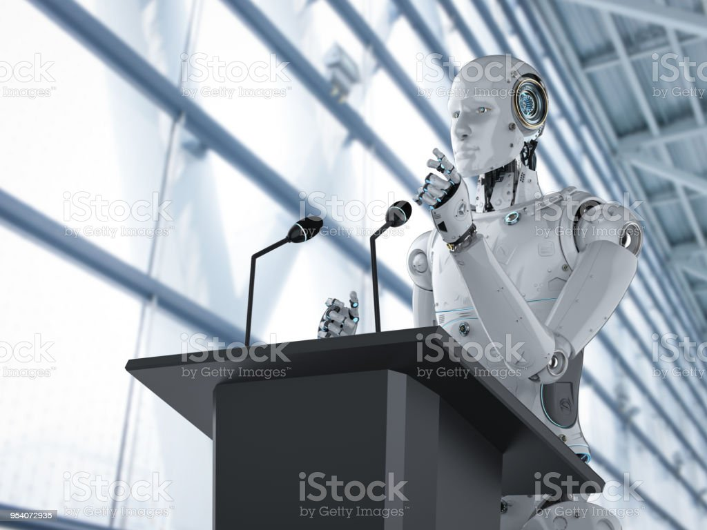 robotic public speaker stock photo