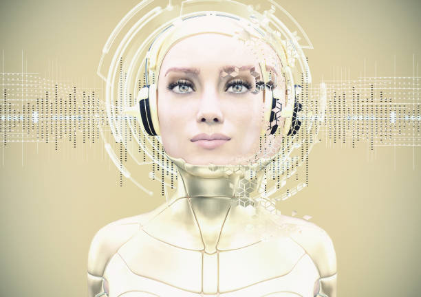robotic sound robotic dj and soundwaves - 3d rendering electronic music stock pictures, royalty-free photos & images
