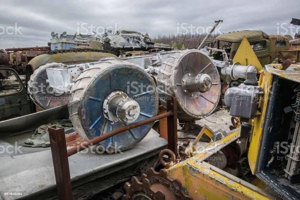 Robotic technique of the liquidators of the Chernobyl stock photo