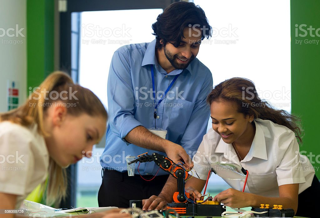 Robotic technology in school stock photo