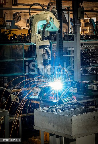 160554760istockphoto Robotic welding on industrial products 1201202901
