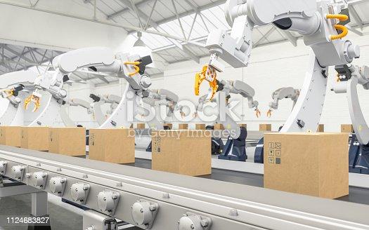 Robotic with arm conveyor line