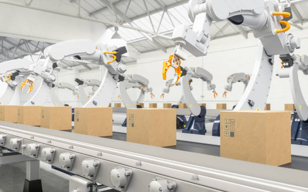 robotic with arm conveyor line - automatizzato foto e immagini stock