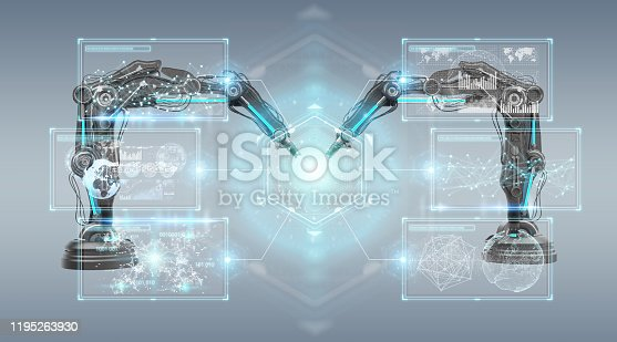 istock Robotics arms with digital screen isolated on grey background 3D rendering 1195263930